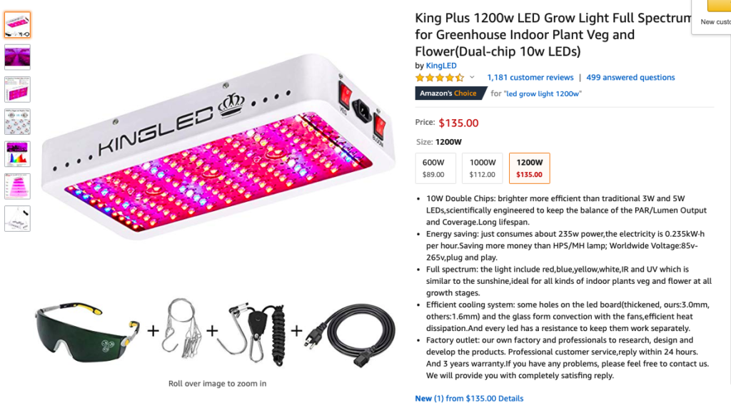 LED grow lights amazon