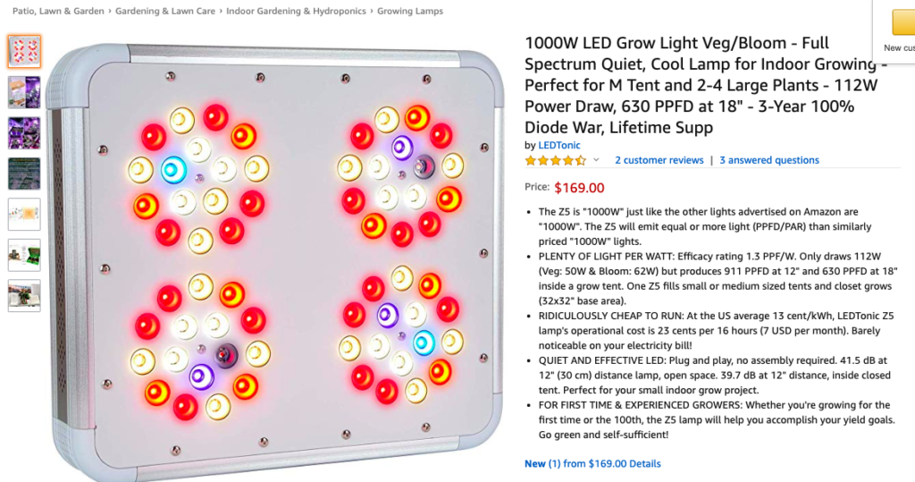 LedTonic grow lights Amazon